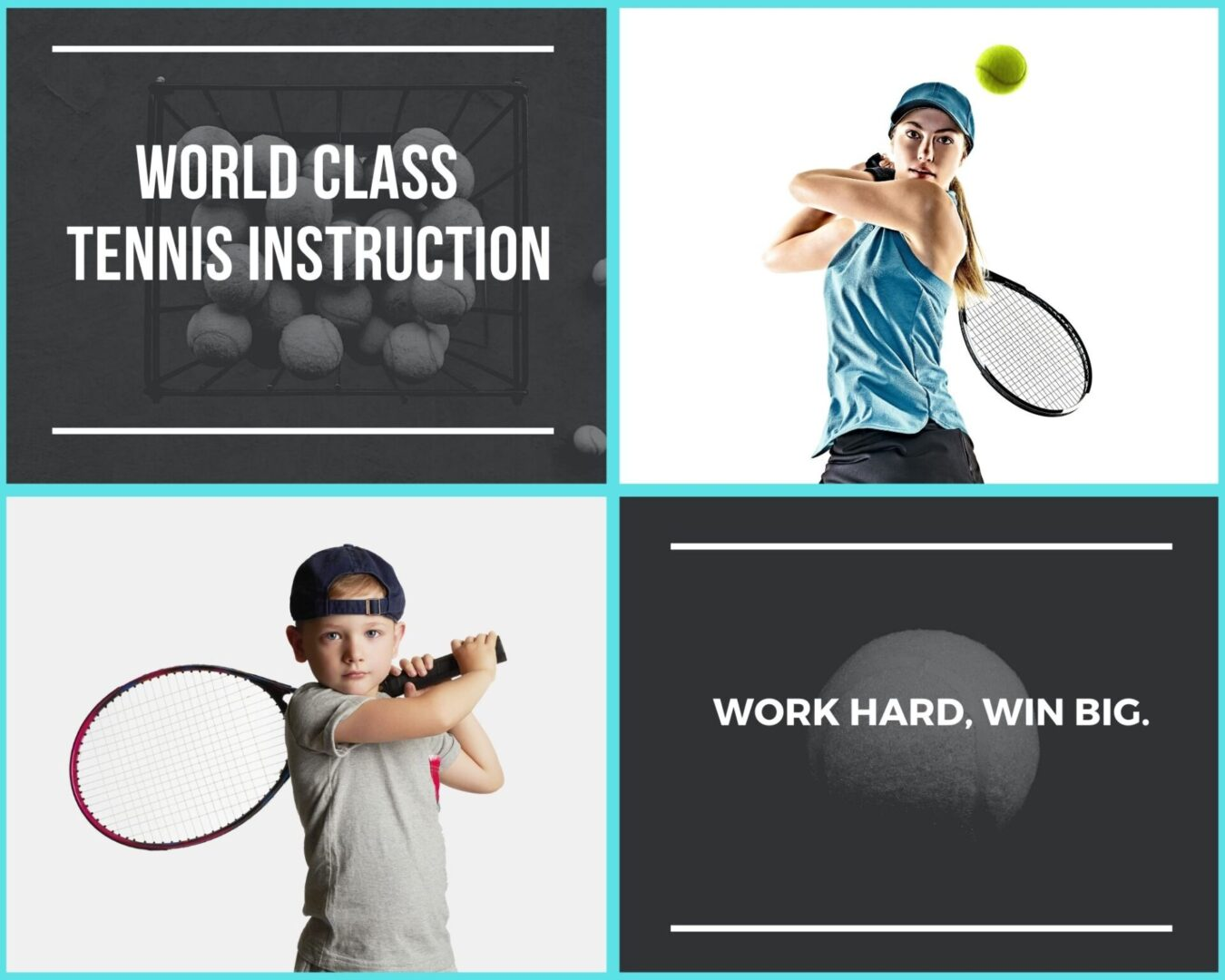 White Text Tennis Sports Photo Collage-2